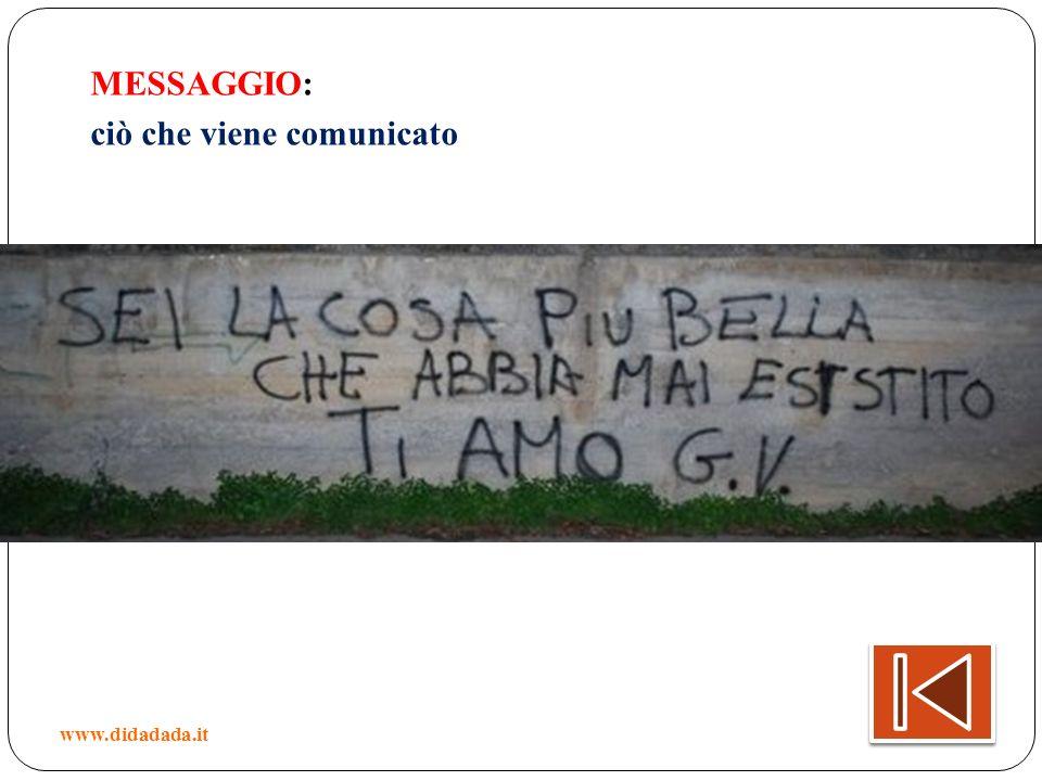 MESSAGGIO: ciò che viene comunicato www.didadada.it