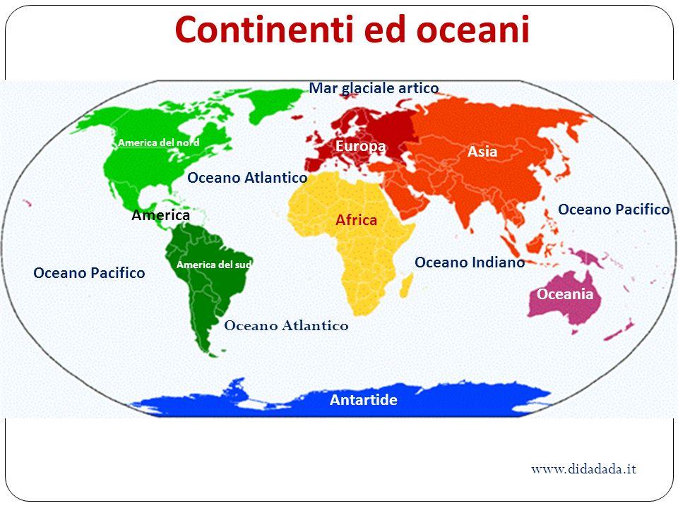 America America del nord America del sud Africa Europa Asia Oceania Antartide Oceano Atlantico Oceano Pacifico Oceano Atlantico Oceano Indiano Mar gla