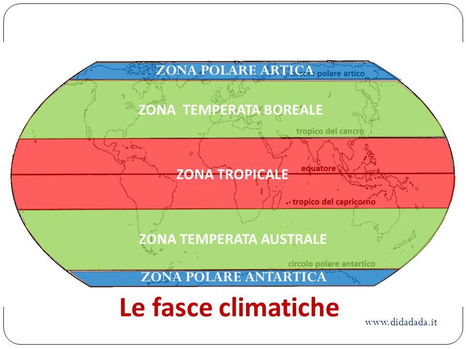 ZONA TEMPERATA AUSTRALE ZONA POLARE ANTARTICA ZONA POLARE ARTICA ZONA TEMPERATA BOREALE ZONA TROPICALE Le fasce climatiche www.didadada.it