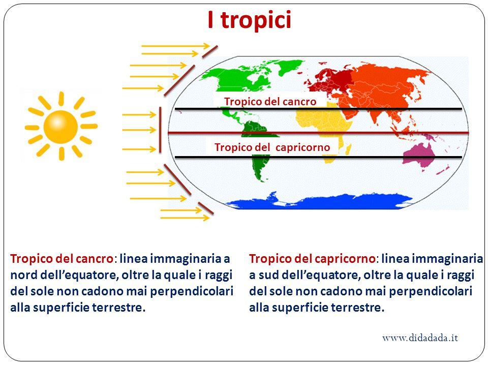 Tropico del cancro Tropico del capricorno Tropico del cancro: linea immaginaria a nord dellequatore, oltre la quale i raggi del sole non cadono mai pe