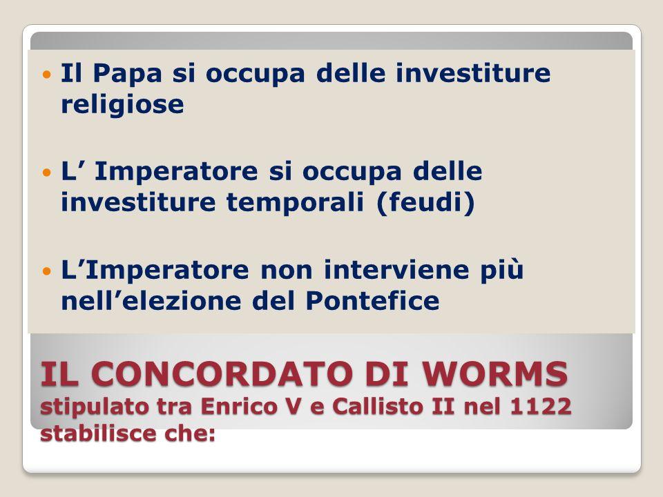 IL CONCORDATO DI WORMS stipulato tra Enrico V e Callisto II nel 1122 stabilisce che: Il Papa si occupa delle investiture religiose L Imperatore si occ