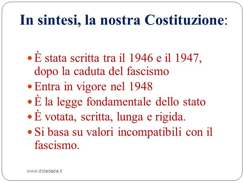 In sintesi, la nostra Costituzione: www.didadada.it È stata scritta tra il 1946 e il 1947, dopo la caduta del fascismo Entra in vigore nel 1948 È la l