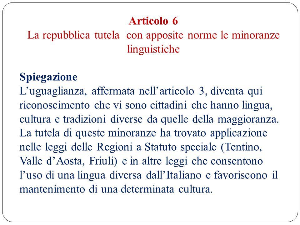 Articolo 6 La repubblica tutela con apposite norme le minoranze linguistiche Spiegazione Luguaglianza, affermata nellarticolo 3, diventa qui riconosci
