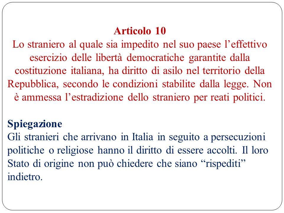 Articolo 10 Lo straniero al quale sia impedito nel suo paese leffettivo esercizio delle libertà democratiche garantite dalla costituzione italiana, ha