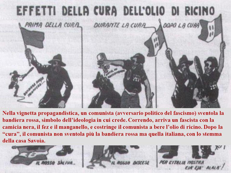 Il fascismo è arrivato al potere con metodi violenti, usando il manganello e lolio di ricino (un potente lassativo) contro gli avversari politici. www