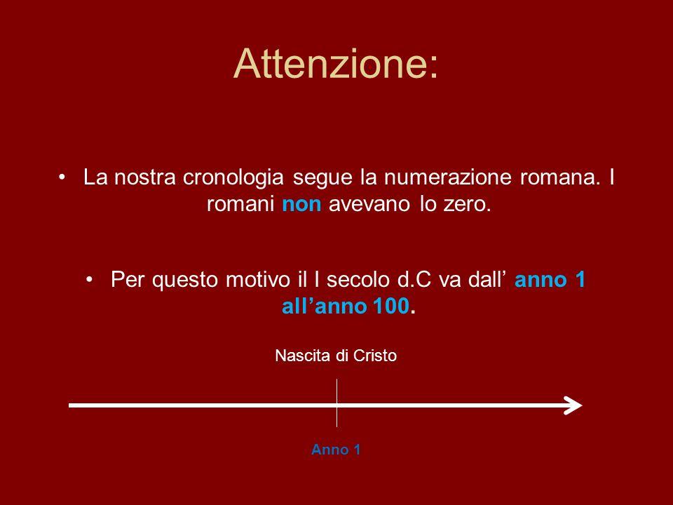 Attenzione: La nostra cronologia segue la numerazione romana. I romani non avevano lo zero. Per questo motivo il I secolo d.C va dall anno 1 allanno 1