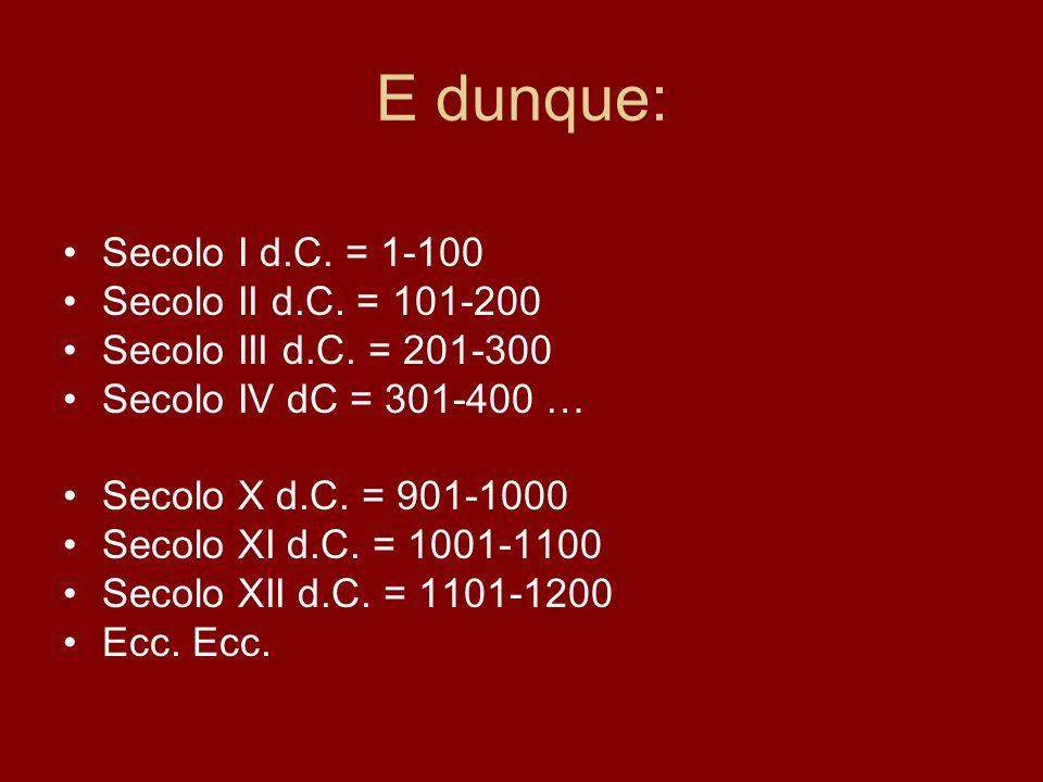E dunque: Secolo I d.C. = 1-100 Secolo II d.C. = 101-200 Secolo III d.C. = 201-300 Secolo IV dC = 301-400 … Secolo X d.C. = 901-1000 Secolo XI d.C. =