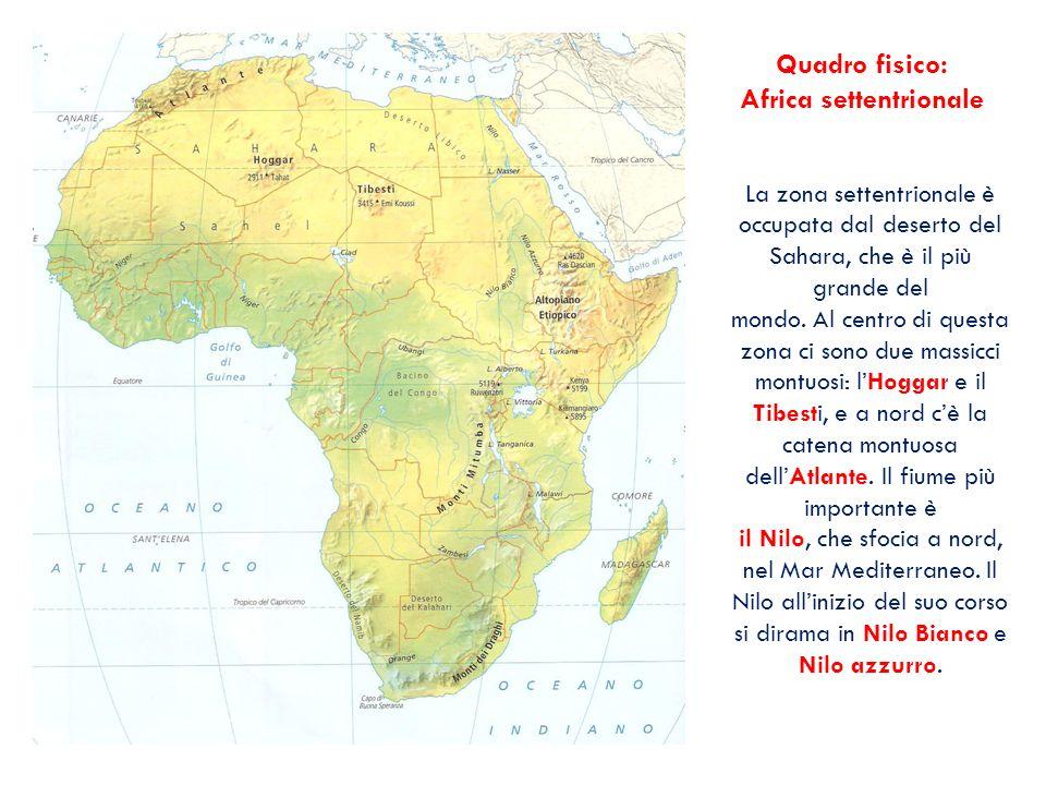 Quadro fisico: Africa settentrionale La zona settentrionale è occupata dal deserto del Sahara, che è il più grande del mondo. Al centro di questa zona