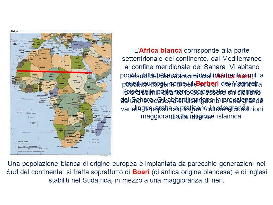 A sud del Sahara comincia lAfrica nera, popolata da genti di pelle scura. I neri sono tra loro dissimili quanto lo può essere un siciliano da uno sved