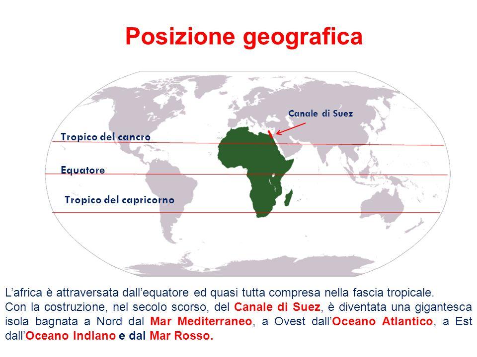 Tropico del cancro Equatore Tropico del capricorno Lafrica è attraversata dallequatore ed quasi tutta compresa nella fascia tropicale. Con la costruzi