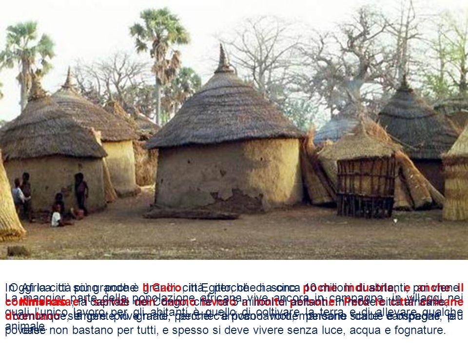 La maggior parte della popolazione africana vive ancora in campagna, in villaggi nei quali lunico lavoro per gli abitanti è quello di coltivare la ter