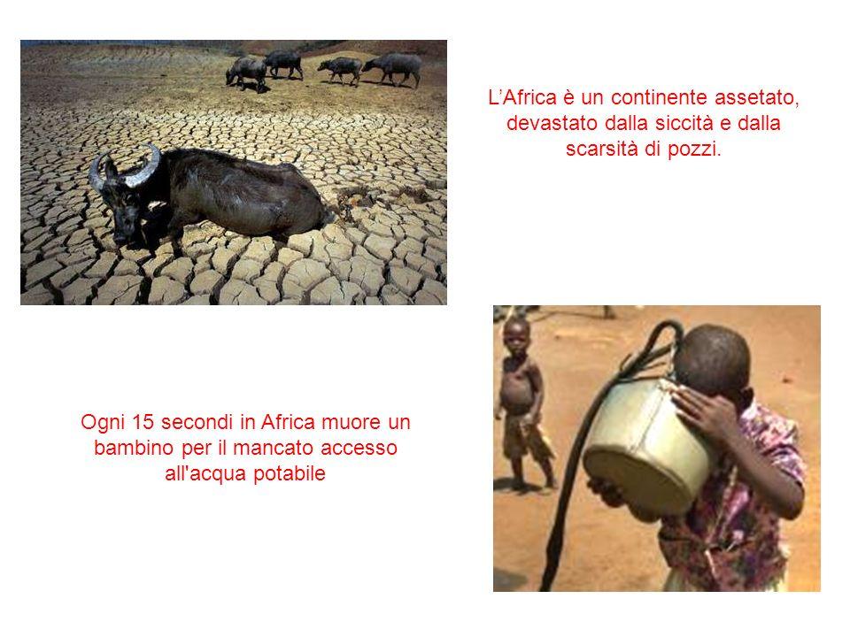 Ogni 15 secondi in Africa muore un bambino per il mancato accesso all'acqua potabile LAfrica è un continente assetato, devastato dalla siccità e dalla