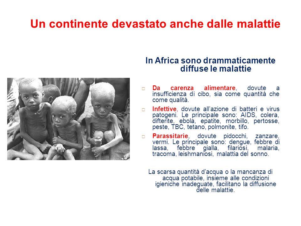 Un continente devastato anche dalle malattie In Africa sono drammaticamente diffuse le malattie Da carenza alimentare, dovute a insufficienza di cibo,