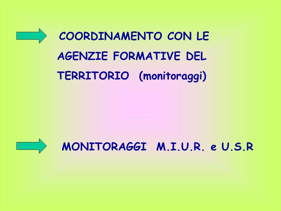 COORDINAMENTO CON LE AGENZIE FORMATIVE DEL TERRITORIO (monitoraggi) MONITORAGGI M.I.U.R. e U.S.R
