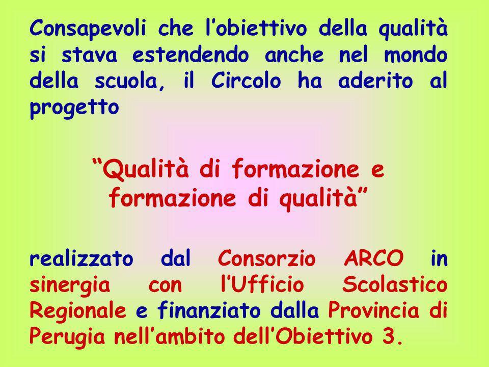 Consapevoli che lobiettivo della qualità si stava estendendo anche nel mondo della scuola, il Circolo ha aderito al progetto Qualità di formazione e f