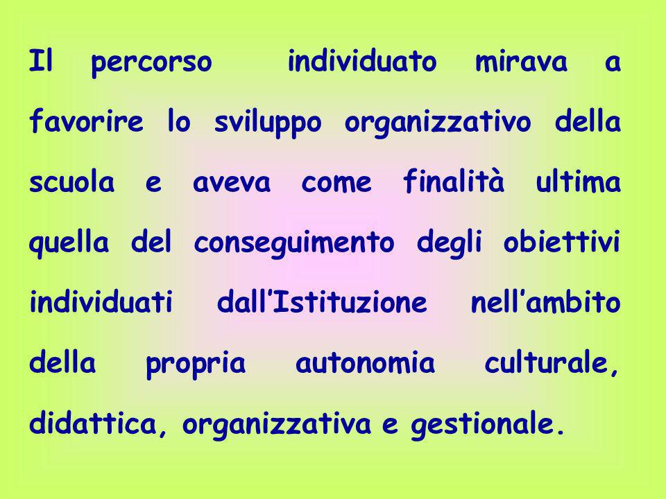 Il percorso individuato mirava a favorire lo sviluppo organizzativo della scuola e aveva come finalità ultima quella del conseguimento degli obiettivi