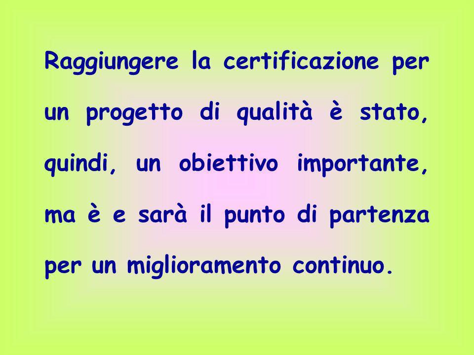 Raggiungere la certificazione per un progetto di qualità è stato, quindi, un obiettivo importante, ma è e sarà il punto di partenza per un miglioramen