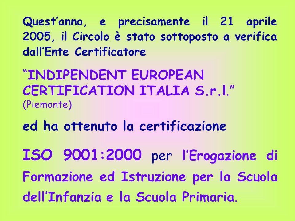 Questanno, e precisamente il 21 aprile 2005, il Circolo è stato sottoposto a verifica dallEnte Certificatore INDIPENDENT EUROPEAN CERTIFICATION ITALIA