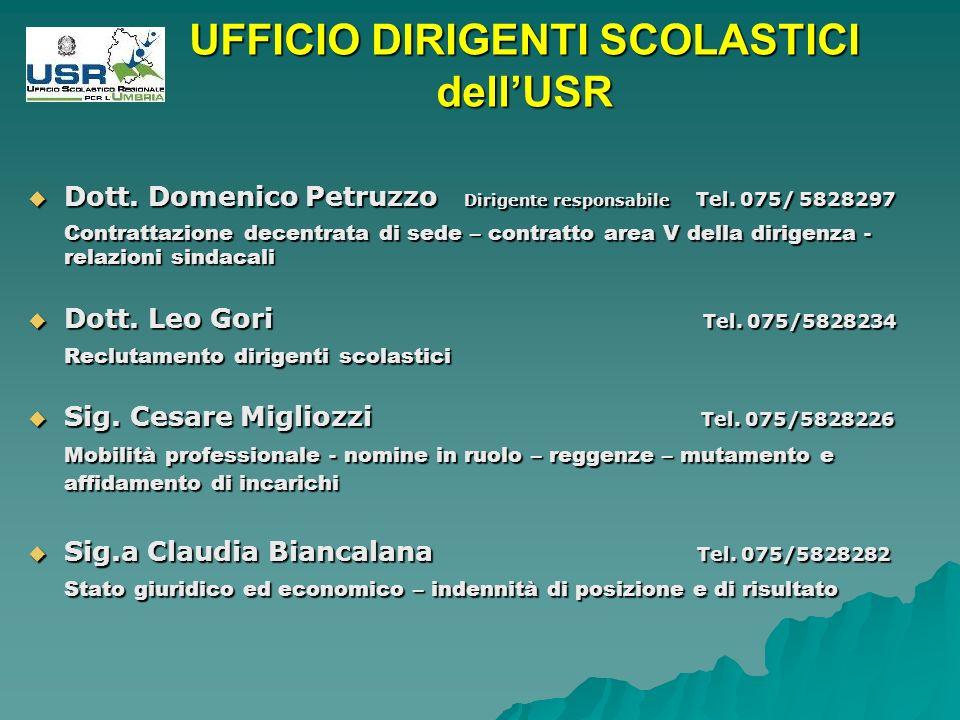 UFFICIO DIRIGENTI SCOLASTICI dellUSR Dott. Domenico Petruzzo Dirigente responsabile Tel.