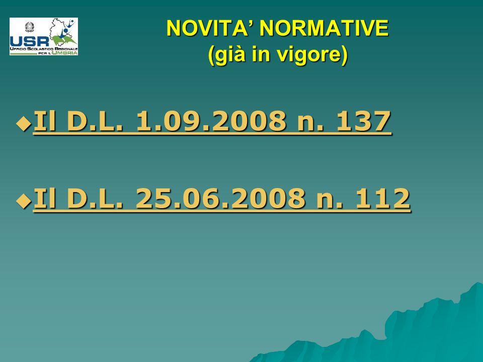 NOVITA NORMATIVE (già in vigore) Il D.L. 1.09.2008 n.