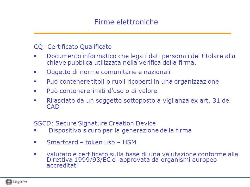Firme elettroniche CQ: Certificato Qualificato Documento informatico che lega i dati personali del titolare alla chiave pubblica utilizzata nella veri