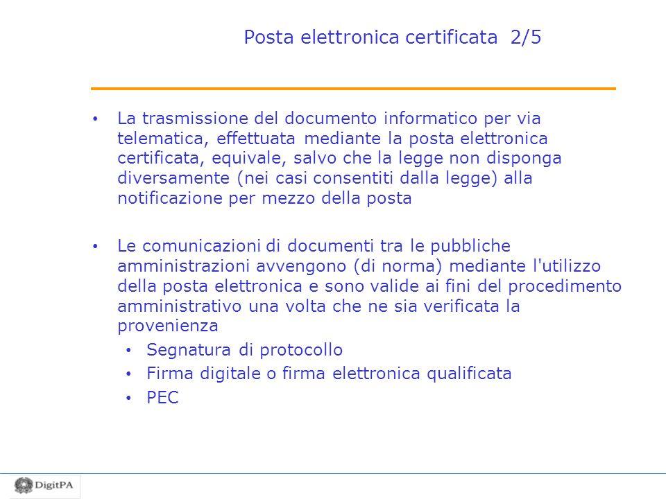 Posta elettronica certificata 2/5 La trasmissione del documento informatico per via telematica, effettuata mediante la posta elettronica certificata,