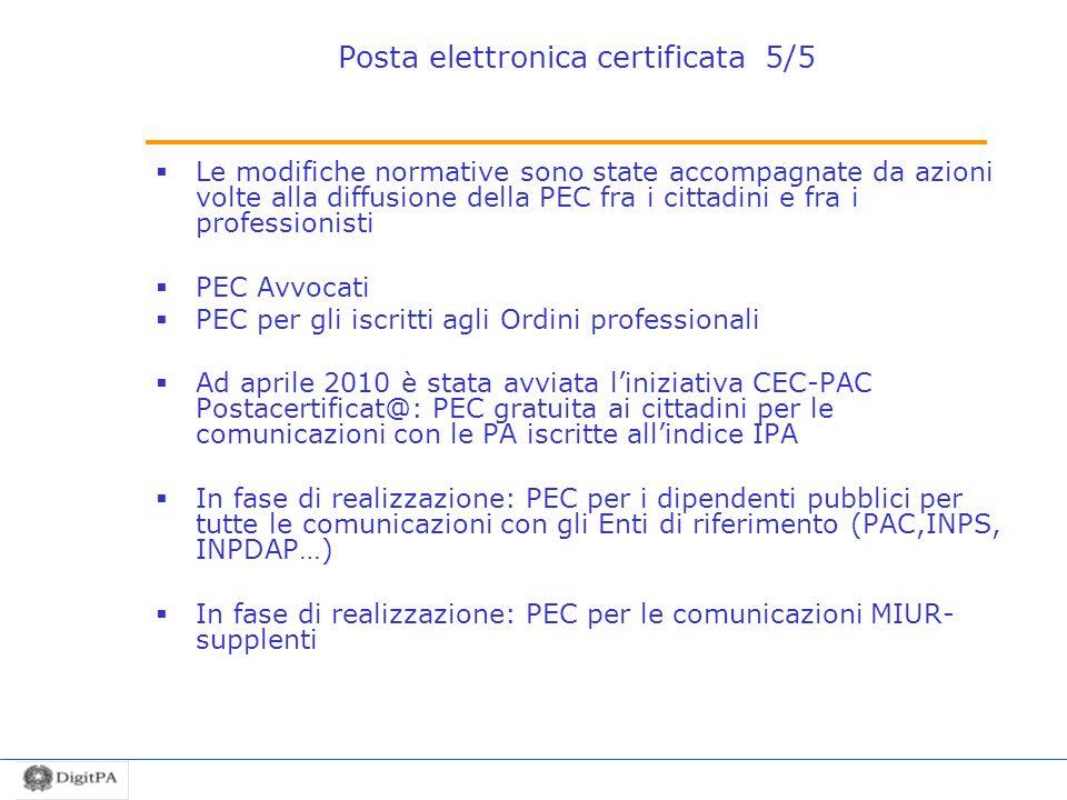 Posta elettronica certificata 5/5 Le modifiche normative sono state accompagnate da azioni volte alla diffusione della PEC fra i cittadini e fra i pro