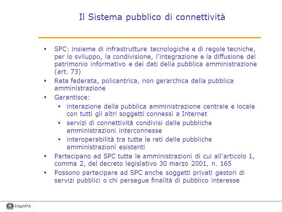 Il Sistema pubblico di connettività SPC: insieme di infrastrutture tecnologiche e di regole tecniche, per lo sviluppo, la condivisione, l'integrazione