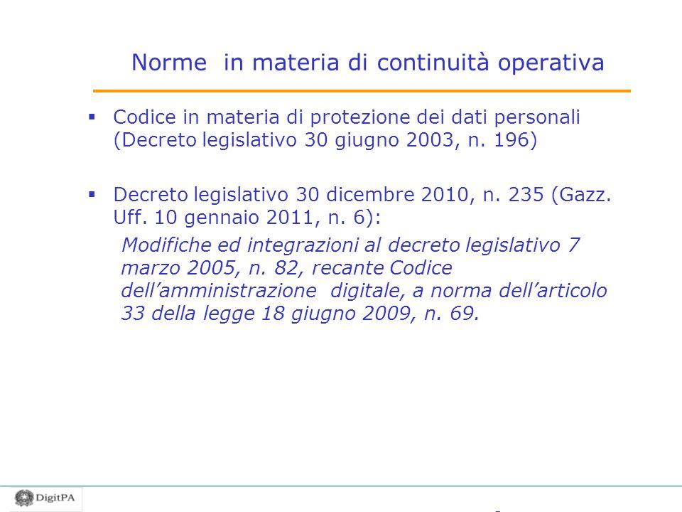 Norme in materia di continuità operativa Codice in materia di protezione dei dati personali (Decreto legislativo 30 giugno 2003, n. 196) Decreto legis