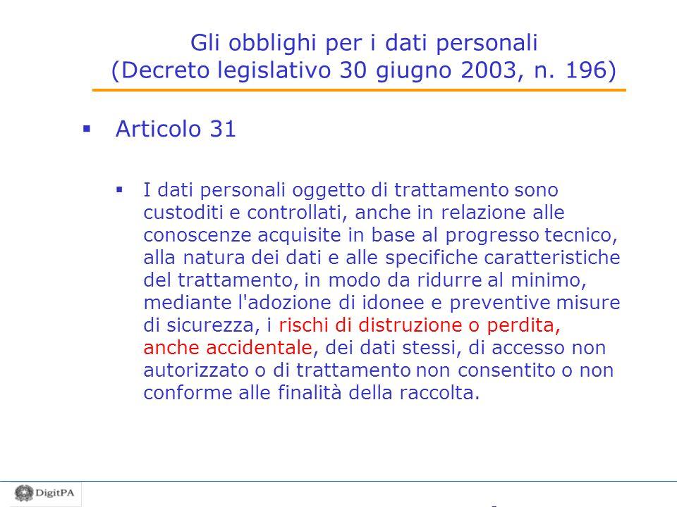 Gli obblighi per i dati personali (Decreto legislativo 30 giugno 2003, n. 196) Articolo 31 I dati personali oggetto di trattamento sono custoditi e co