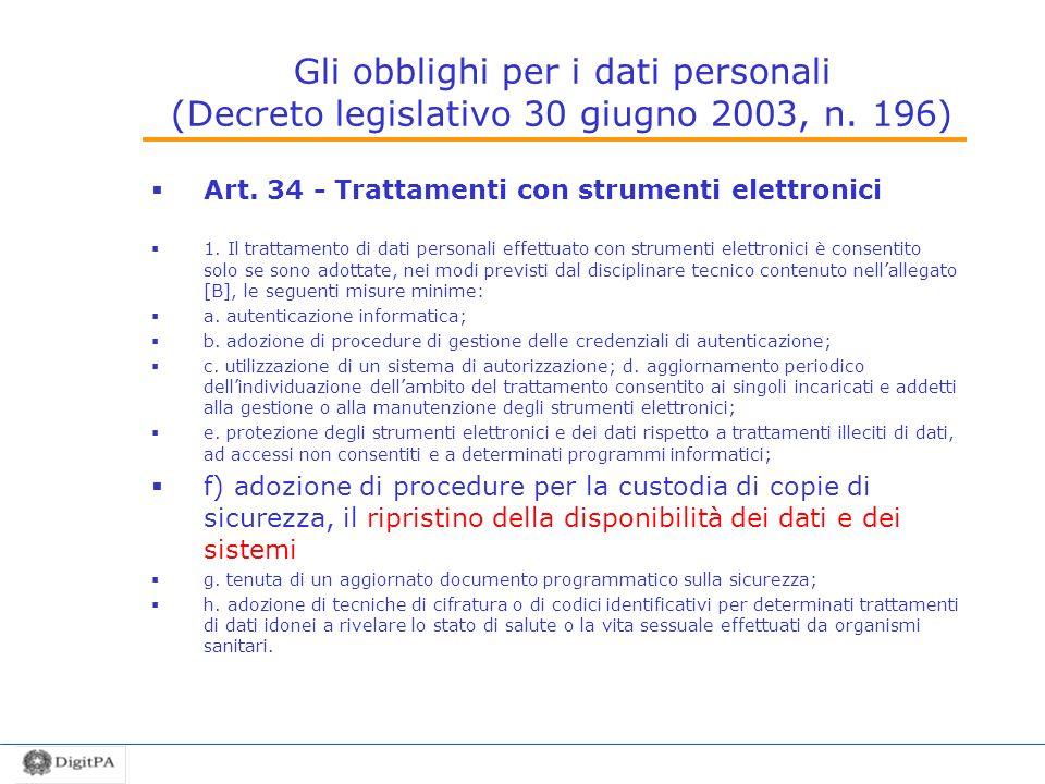 Gli obblighi per i dati personali (Decreto legislativo 30 giugno 2003, n. 196) Art. 34 - Trattamenti con strumenti elettronici 1. Il trattamento di da