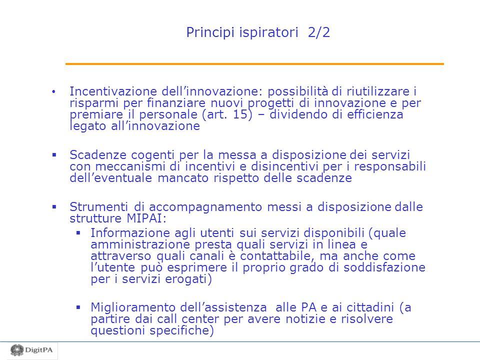 Principi ispiratori 2/2 Incentivazione dellinnovazione: possibilità di riutilizzare i risparmi per finanziare nuovi progetti di innovazione e per prem