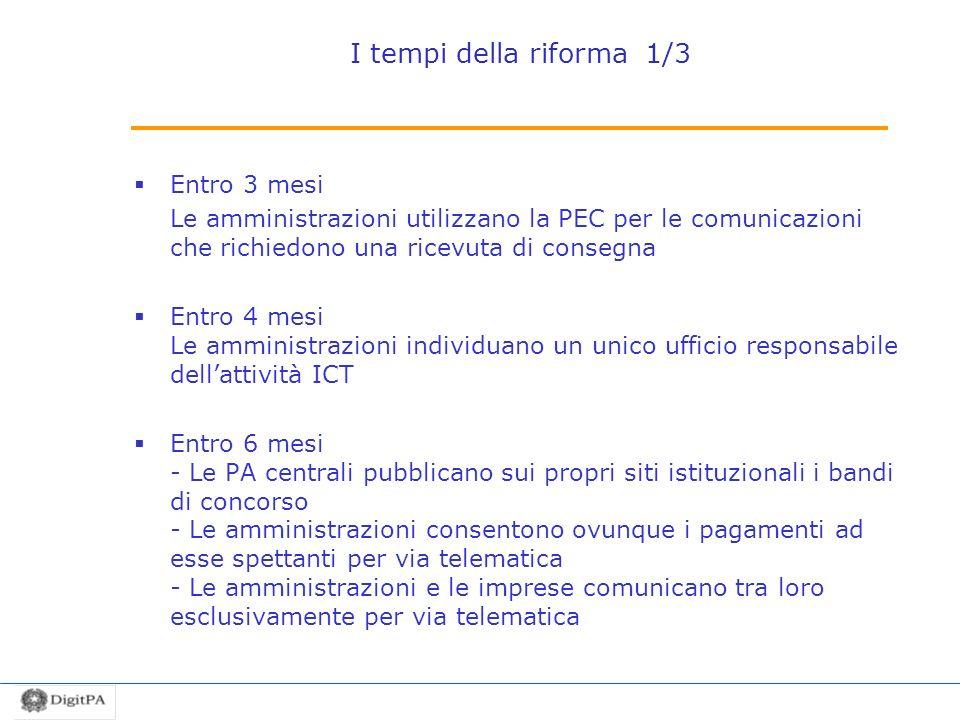 I tempi della riforma 1/3 Entro 3 mesi Le amministrazioni utilizzano la PEC per le comunicazioni che richiedono una ricevuta di consegna Entro 4 mesi
