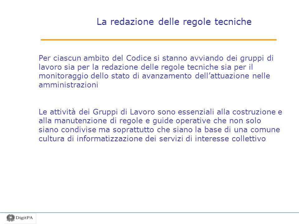 La redazione delle regole tecniche Per ciascun ambito del Codice si stanno avviando dei gruppi di lavoro sia per la redazione delle regole tecniche si
