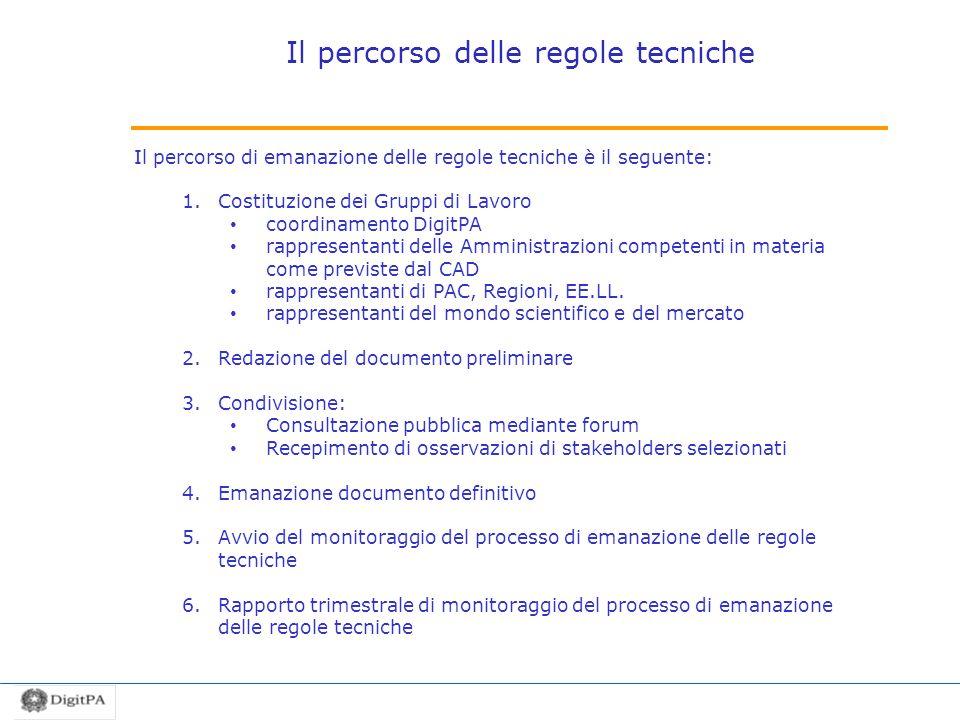 Il percorso delle regole tecniche Il percorso di emanazione delle regole tecniche è il seguente: 1.Costituzione dei Gruppi di Lavoro coordinamento Dig