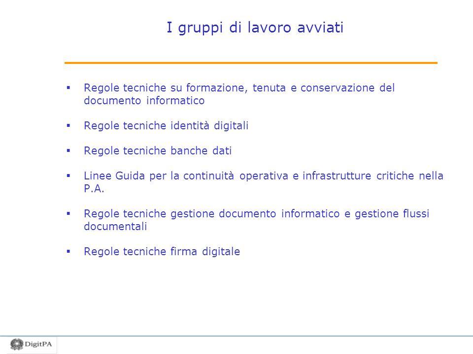 I gruppi di lavoro avviati Regole tecniche su formazione, tenuta e conservazione del documento informatico Regole tecniche identità digitali Regole te