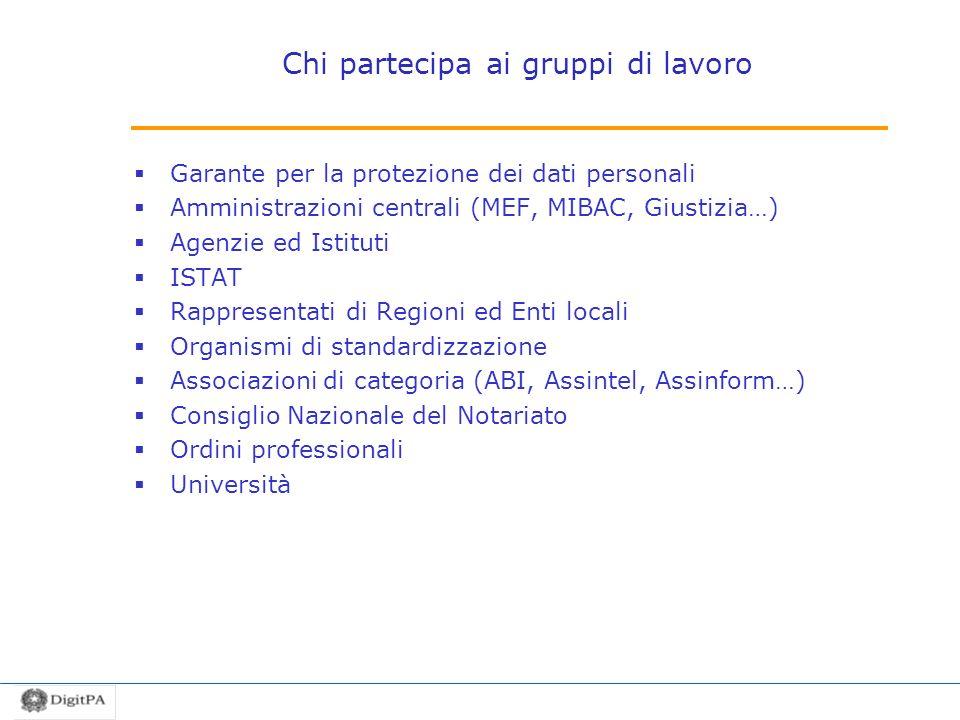 Chi partecipa ai gruppi di lavoro Garante per la protezione dei dati personali Amministrazioni centrali (MEF, MIBAC, Giustizia…) Agenzie ed Istituti I