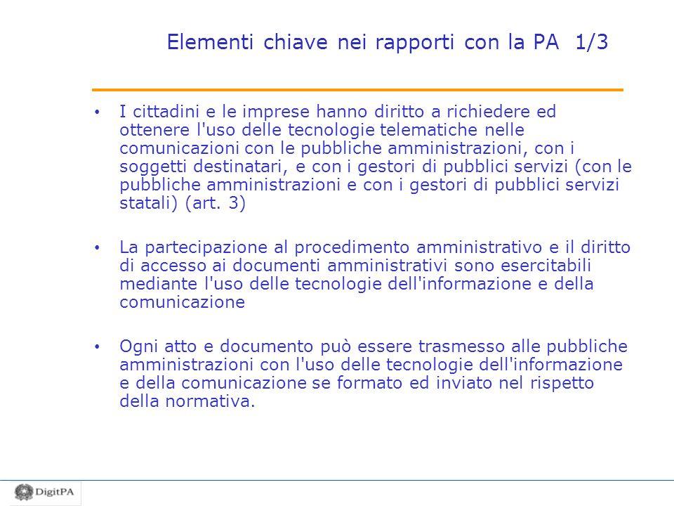 Elementi chiave nei rapporti con la PA 1/3 I cittadini e le imprese hanno diritto a richiedere ed ottenere l'uso delle tecnologie telematiche nelle co