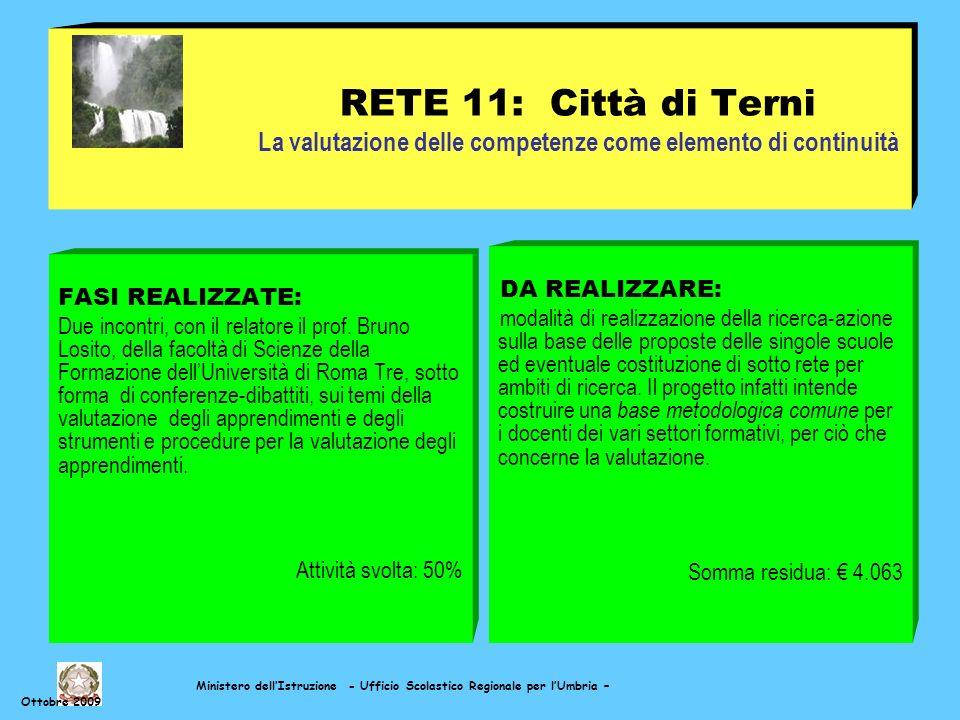 Ministero dellIstruzione - Ufficio Scolastico Regionale per lUmbria – Ottobre 2009 RETE 11: Città di Terni La valutazione delle competenze come elemento di continuità FASI REALIZZATE: Due incontri, con il relatore il prof.