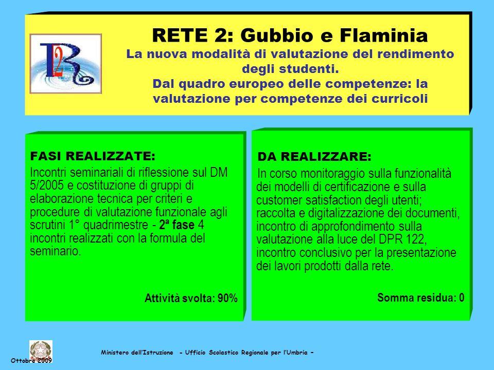 Ministero dellIstruzione - Ufficio Scolastico Regionale per lUmbria – Ottobre 2009 RETE 2: Gubbio e Flaminia La nuova modalità di valutazione del rendimento degli studenti.