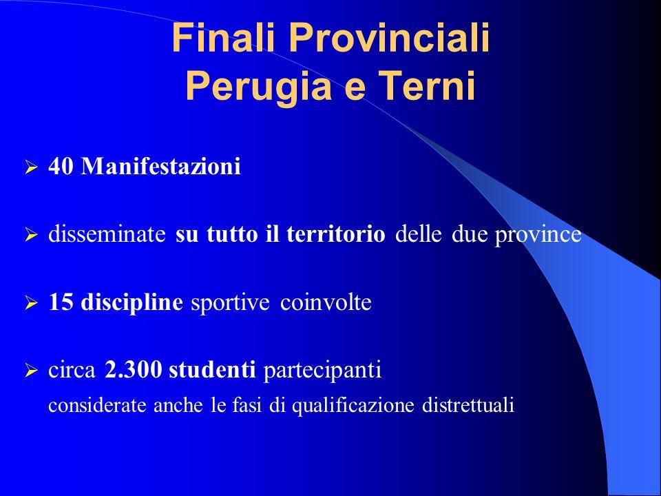 Finali Provinciali Perugia e Terni 40 Manifestazioni disseminate su tutto il territorio delle due province 15 discipline sportive coinvolte circa 2.30
