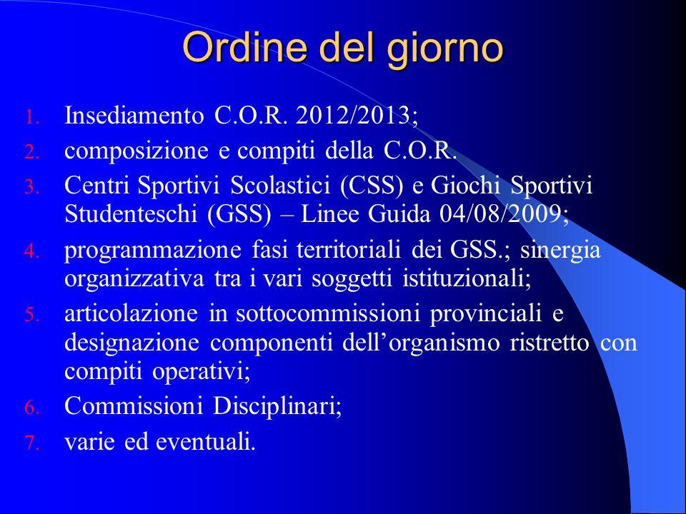 Ordine del giorno 1. Insediamento C.O.R. 2012/2013; 2. composizione e compiti della C.O.R. 3. Centri Sportivi Scolastici (CSS) e Giochi Sportivi Stude