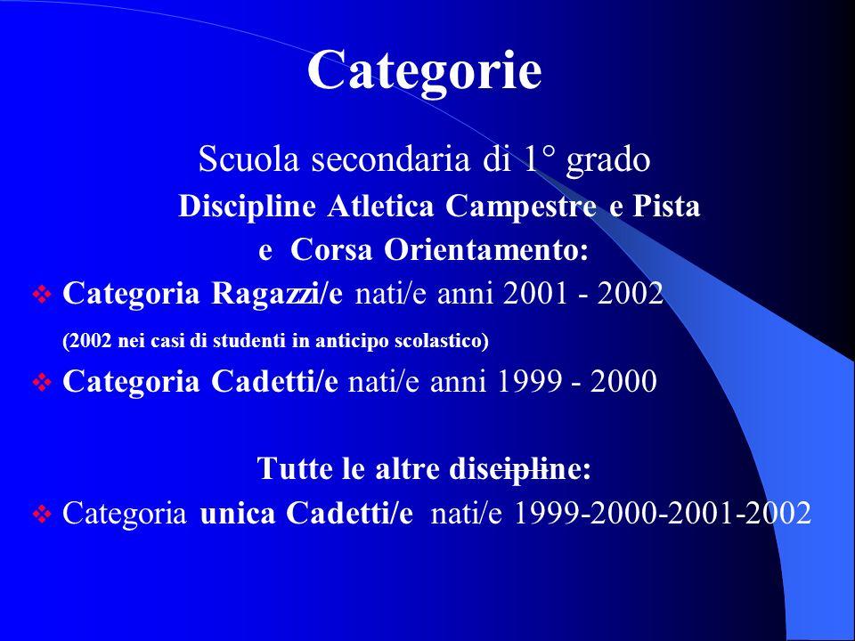 Categorie Scuola secondaria di 1° grado Discipline Atletica Campestre e Pista e Corsa Orientamento: Categoria Ragazzi/e nati/e anni 2001 - 2002 (2002