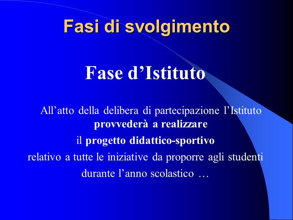 Fasi di svolgimento Fase dIstituto Allatto della delibera di partecipazione lIstituto provvederà a realizzare il progetto didattico-sportivo relativo