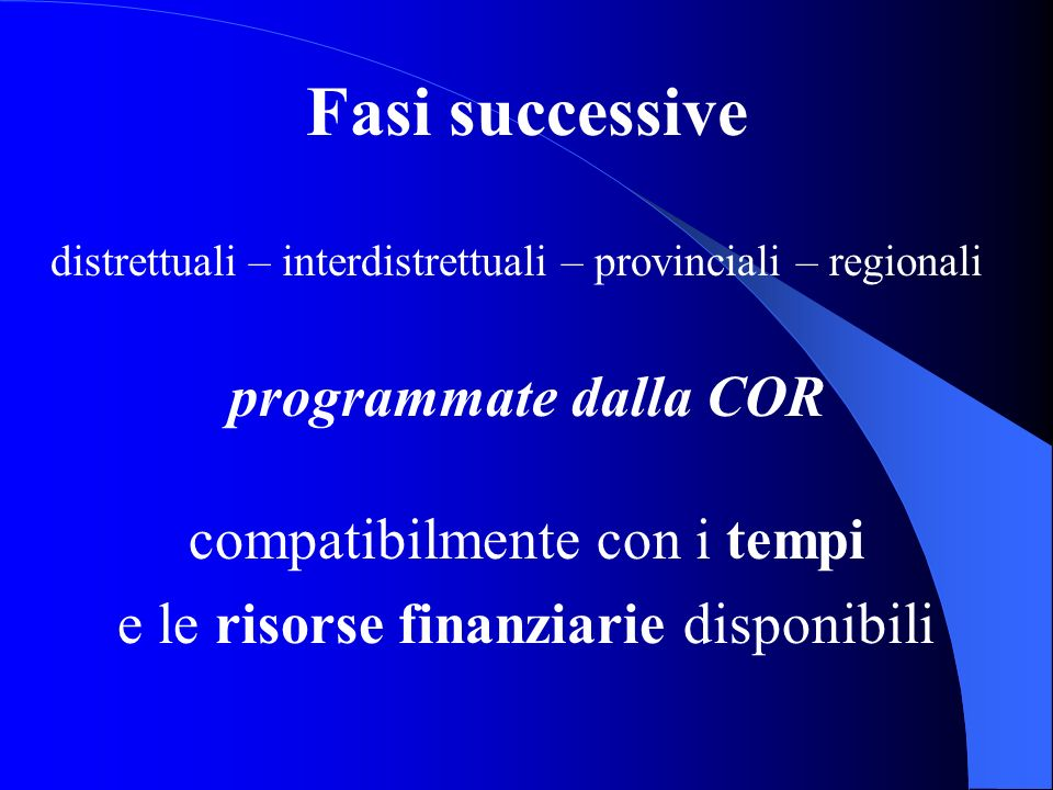 Fasi successive distrettuali – interdistrettuali – provinciali – regionali programmate dalla COR compatibilmente con i tempi e le risorse finanziarie