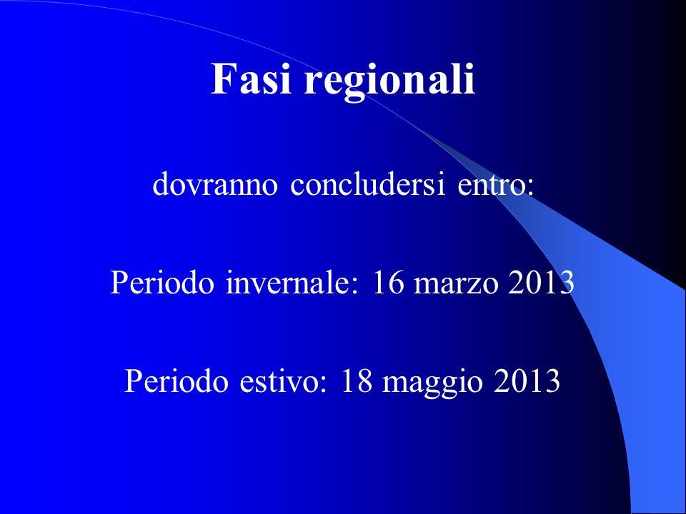 Fasi regionali dovranno concludersi entro: Periodo invernale: 16 marzo 2013 Periodo estivo: 18 maggio 2013