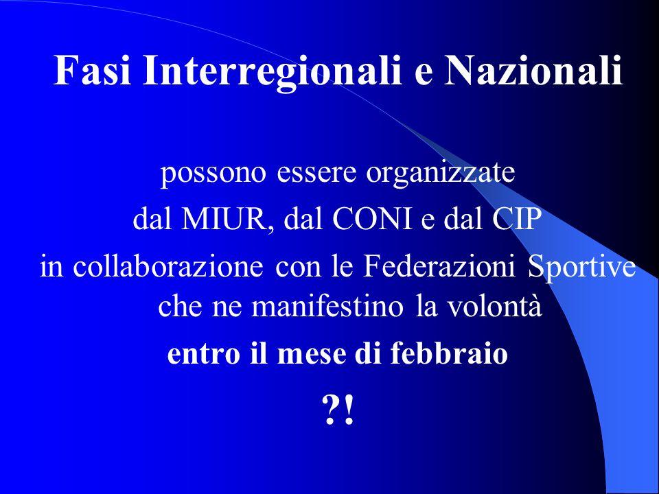 Fasi Interregionali e Nazionali possono essere organizzate dal MIUR, dal CONI e dal CIP in collaborazione con le Federazioni Sportive che ne manifesti