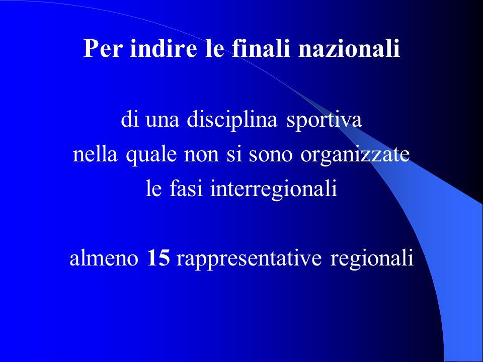Per indire le finali nazionali di una disciplina sportiva nella quale non si sono organizzate le fasi interregionali almeno 15 rappresentative regiona
