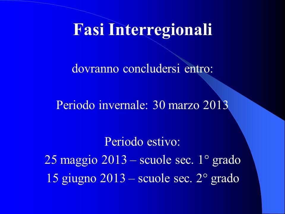 Fasi Interregionali dovranno concludersi entro: Periodo invernale: 30 marzo 2013 Periodo estivo: 25 maggio 2013 – scuole sec. 1° grado 15 giugno 2013