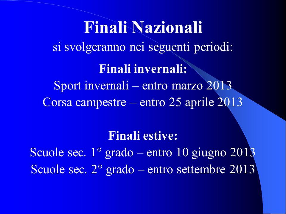 Finali Nazionali si svolgeranno nei seguenti periodi: Finali invernali: Sport invernali – entro marzo 2013 Corsa campestre – entro 25 aprile 2013 Fina
